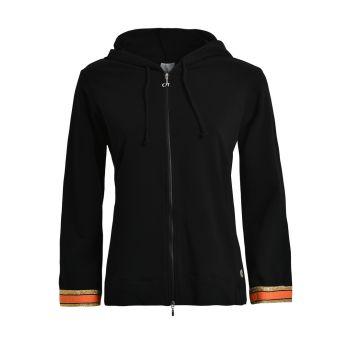 Deha FELPA ZIP+CAPPUCCIO, ženska majica, crna