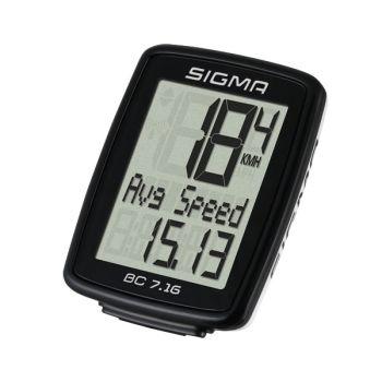 Sigma BC 7.16, brzinomjer za bicikl, crna