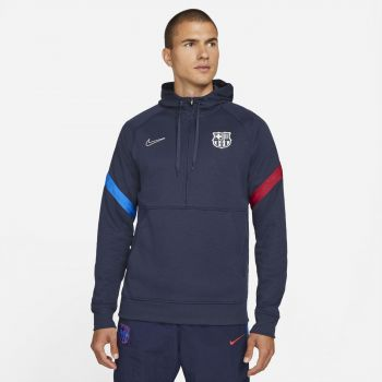 Nike FC BARCELONA DRI-FIT 1/2-ZIP SOCCER HOODIE, muški pulover, plava