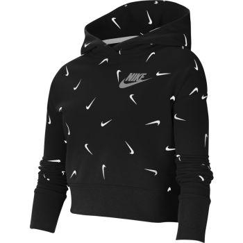 Nike G NSW CROP HOODIE AOP, dječji pulover, crna