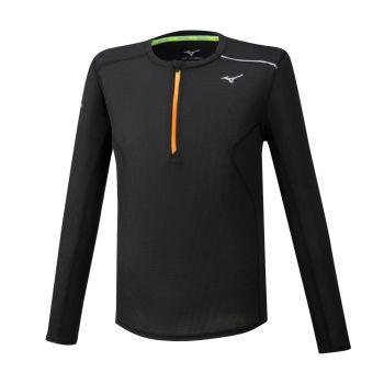 Mizuno DRY AEROFLOW LS HZ, muška majica za trčanje, crna