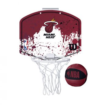 Wilson NBA TEAM MINI HOOP MIAMI HEAT, tabla s obručem, crvena