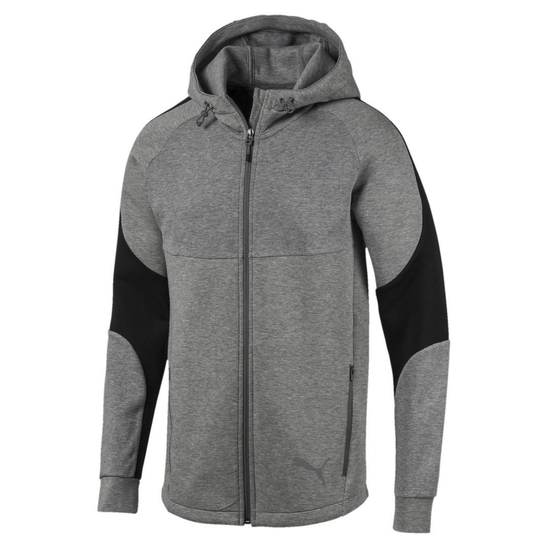 Puma EVOSTRIPE FZ HOODY, muški pulover, siva