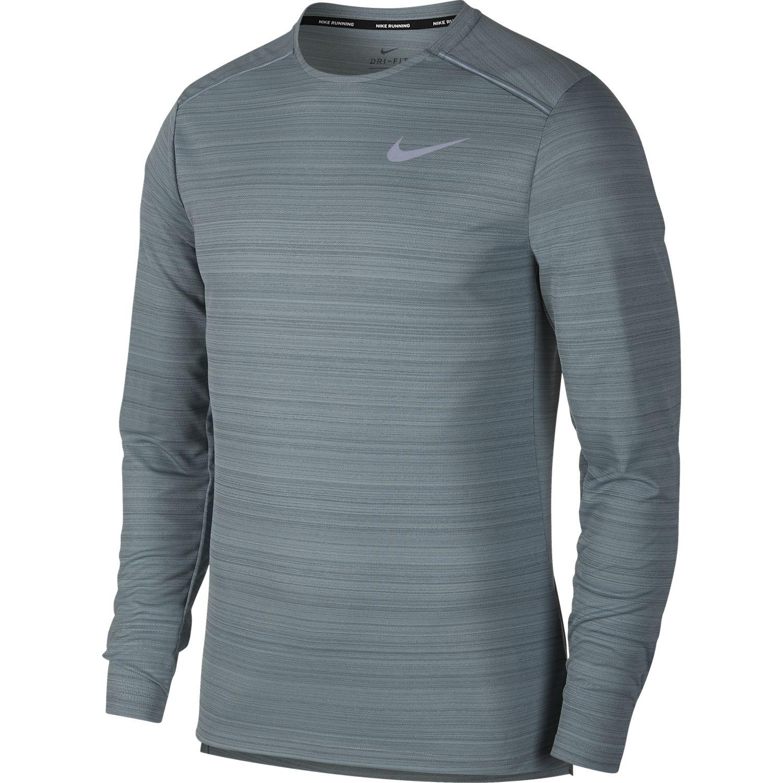 Nike M NK DRY MILER TOP LS, muška majica za trčanje, siva