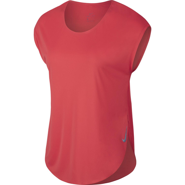Nike W NK CITY SLEEK TOP SS, ženska majica za trčanje, crvena