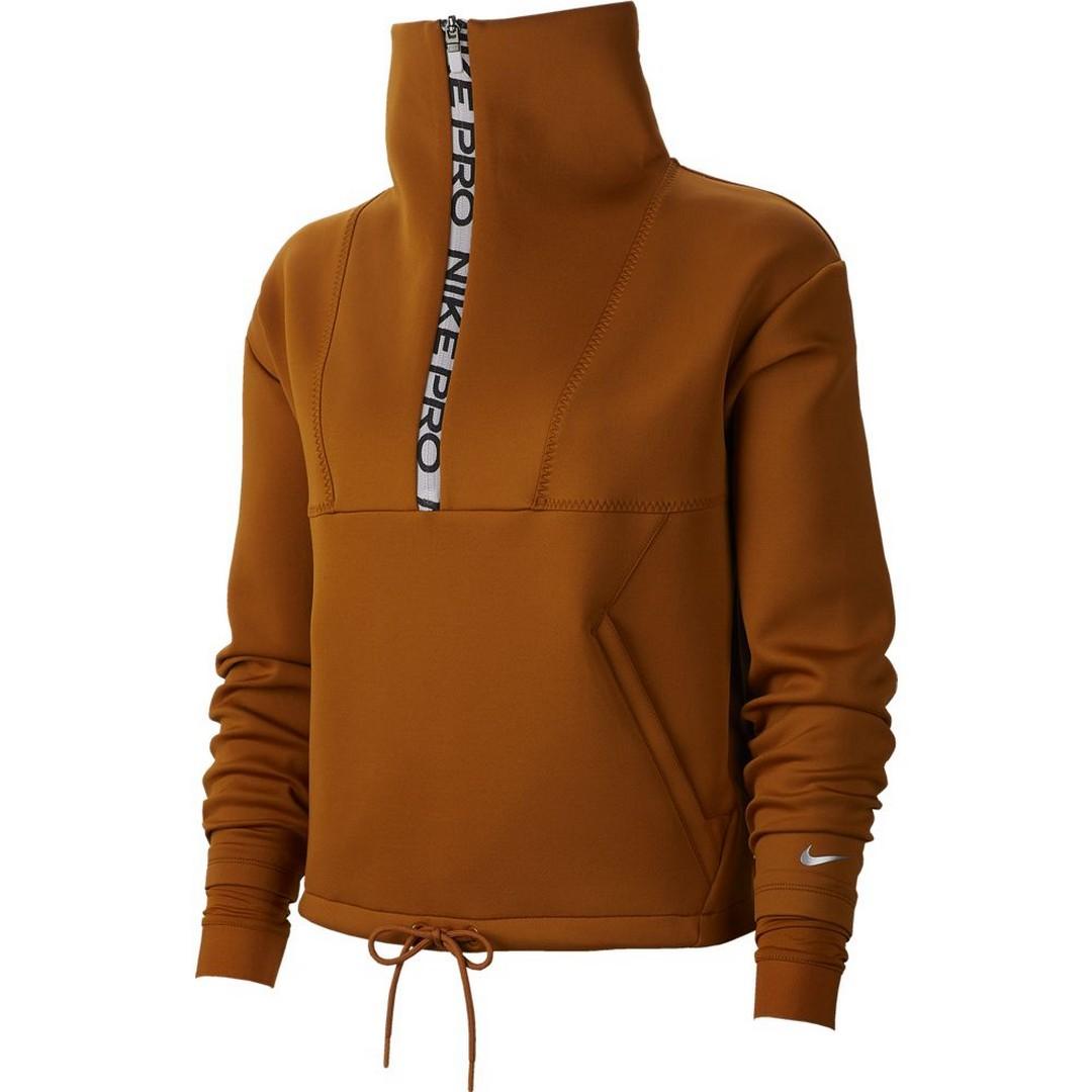 Nike W NP CLN FLC CROP MOCK NECK HZ, majica, smeđa