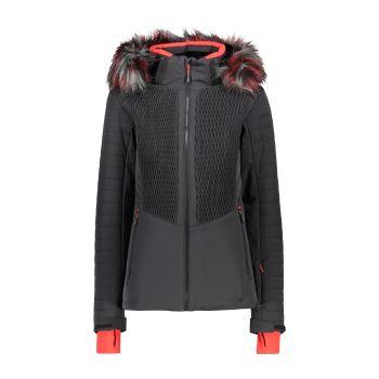 CMP WOMAN JACKET ZIP HOOD, ženska skijaška jakna, crna