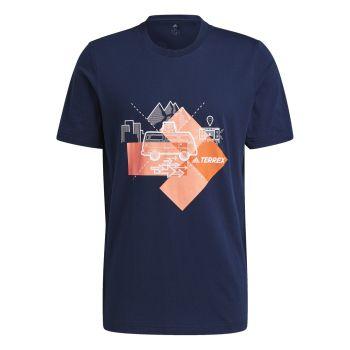 adidas TRAVEL GFX TEE, muška majica za planinarenje, plava