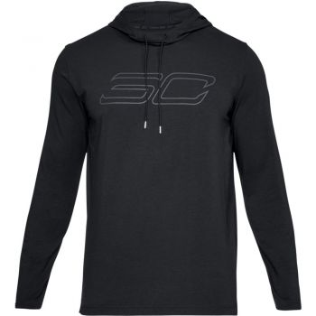 Under Armour Sc30 Ls Hooded Tee-blk/blk/sty, muški pulover za košarku, crna
