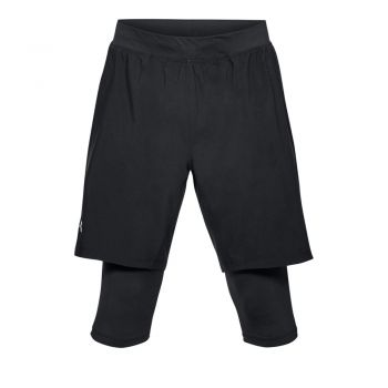 Under Armour LAUNCH SW LONG SHORT-BLK/BLK/REF, muške kratke hlače za trčanje, crna