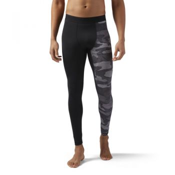 Reebok Speedwick Compression Tight - Exo Camo, muške hlače, crna