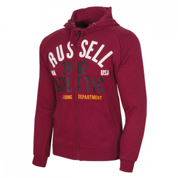 Russell Athletic Zip Through Hoody Sweat With 1902 Athletic Print, muška jakna, crvena