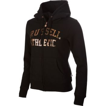 Russell Athletic ZIP THROUGH LOGO HOODY, ženska jakna, crna