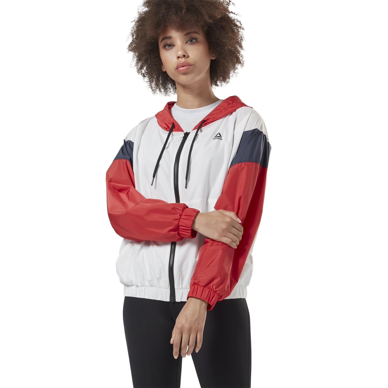 Reebok LINEAR LOGO WINDBRE, ženska jakna za fitnes, bijela