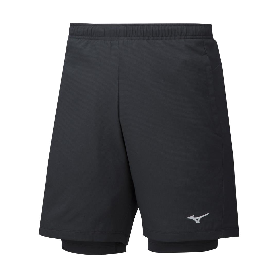 Mizuno IMPULSE 7.5 2IN1 SHORT, muške kratke hlače za trčanje, crna